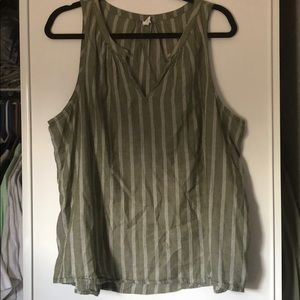 Olive green + white cotton tank with keyhole
